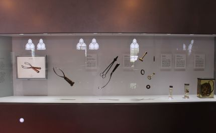 Display of obstetric utensils at the Hunterian Museum